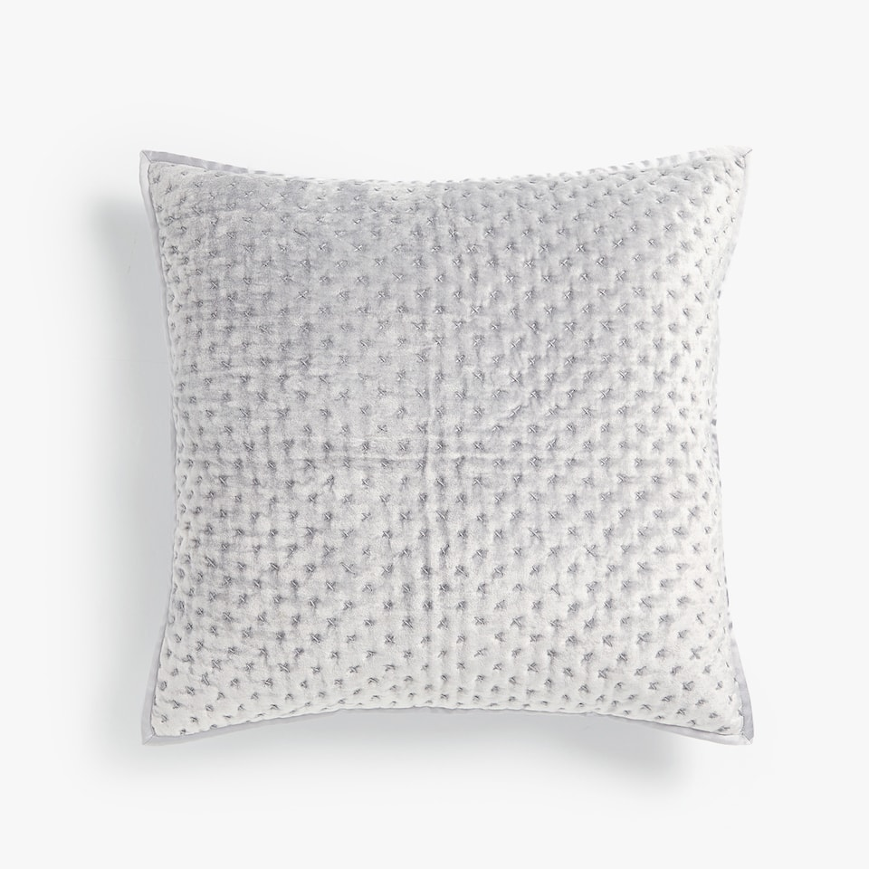 VELVET THROW PILLOW COVER WITH A SOLID BORDER