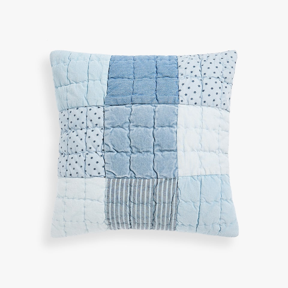 BLUE PATCHWORK THROW PILLOW COVER