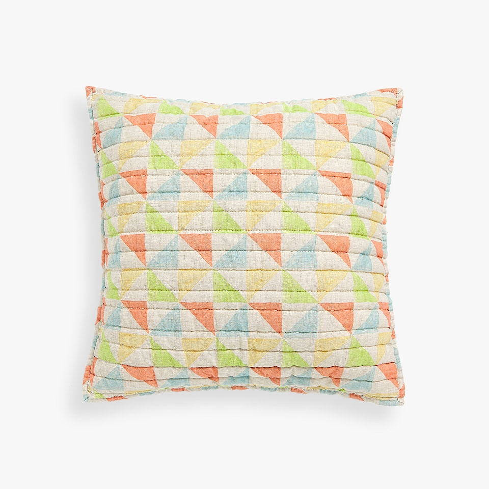 GEOMETRIC PRINT LINEN CUSHION COVER