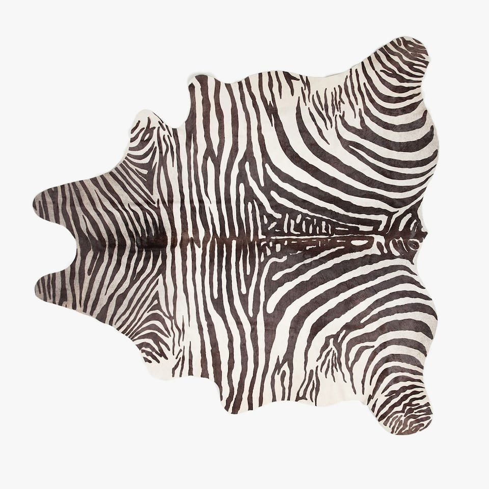 ZEBRA PRINT LEATHER RUG