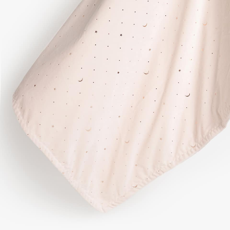 POLKA DOT AND MOON PRINT FLEECE BLANKET