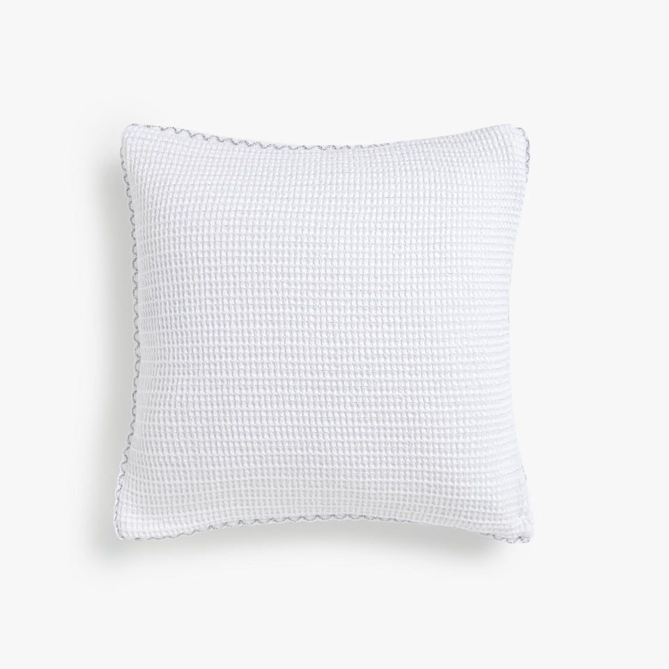 SHIMMERY WAFFLE KNIT COTTON CUSHION COVER WITH WAVY TRIM