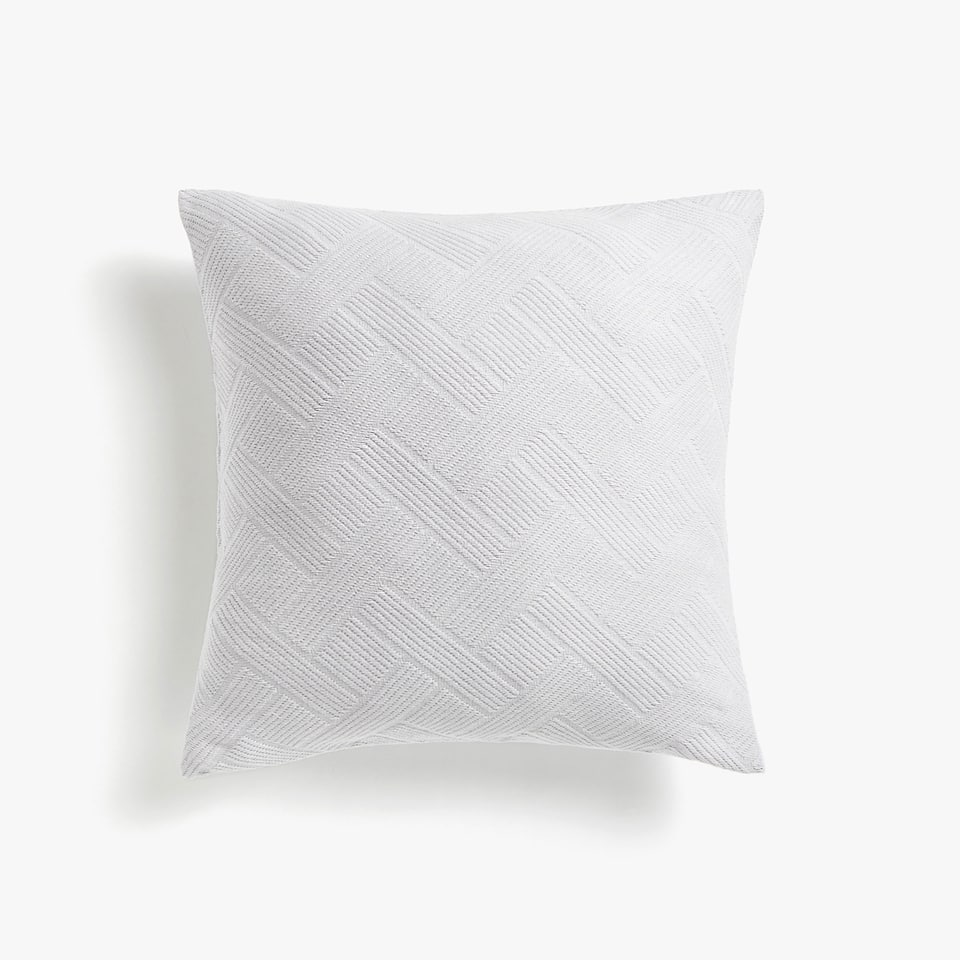 GEOMETRIC MOTIF COTTON CUSHION COVER