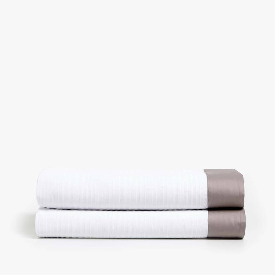 MERCERISED COTTON BEDSPREAD WITH SATEEN BORDER