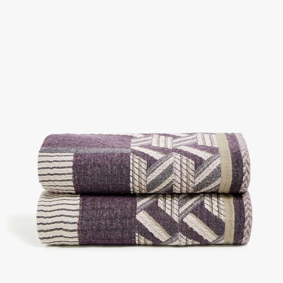 JACQUARD WOOL AND COTTON BLANKET