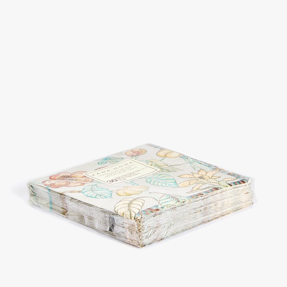 FLORAL PRINT PAPER COCKTAIL NAPKINS (PACK OF 30)
