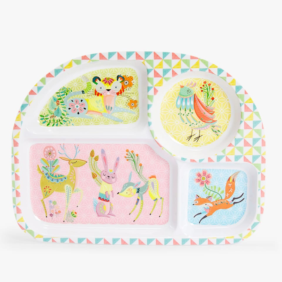 FOREST ANIMALS MELAMINE TRAY