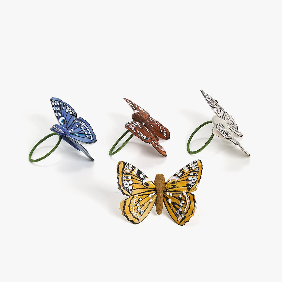 ASSORTED BUTTERFLY NAPKIN RING (PACK OF 4)