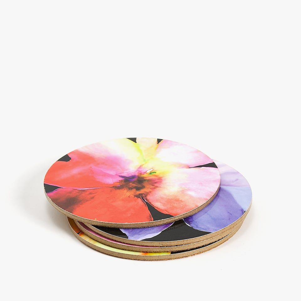 ASSORTED FLORAL PRINT COASTER (PACK OF 4)