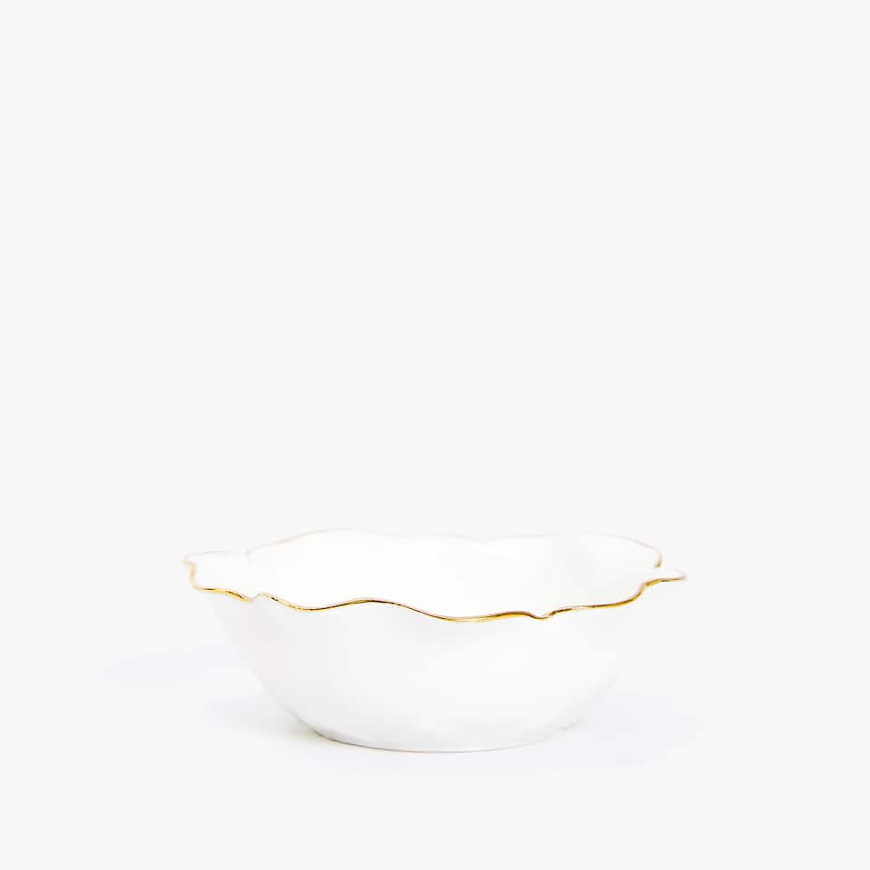 FLOWER-SHAPED GOLD-RIMMED PORCELAIN MINI BOWL