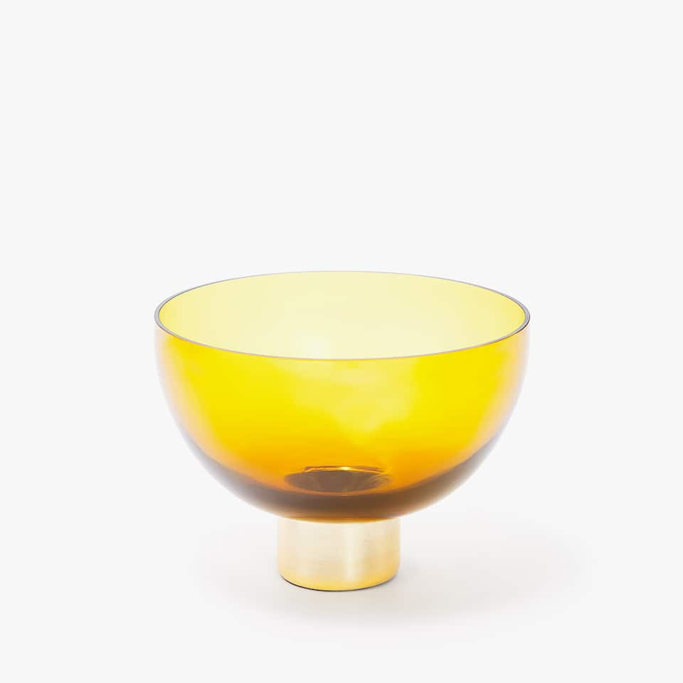 GLASS BOWL WITH GOLD BASE