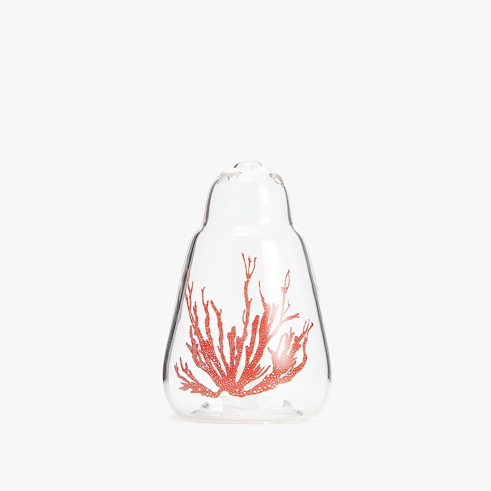 CORAL DESIGN BOROSILICATE GLASS SALT SHAKER