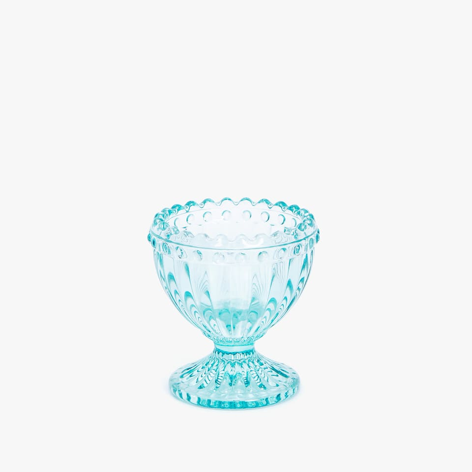 COLOURED GLASS EGG CUP