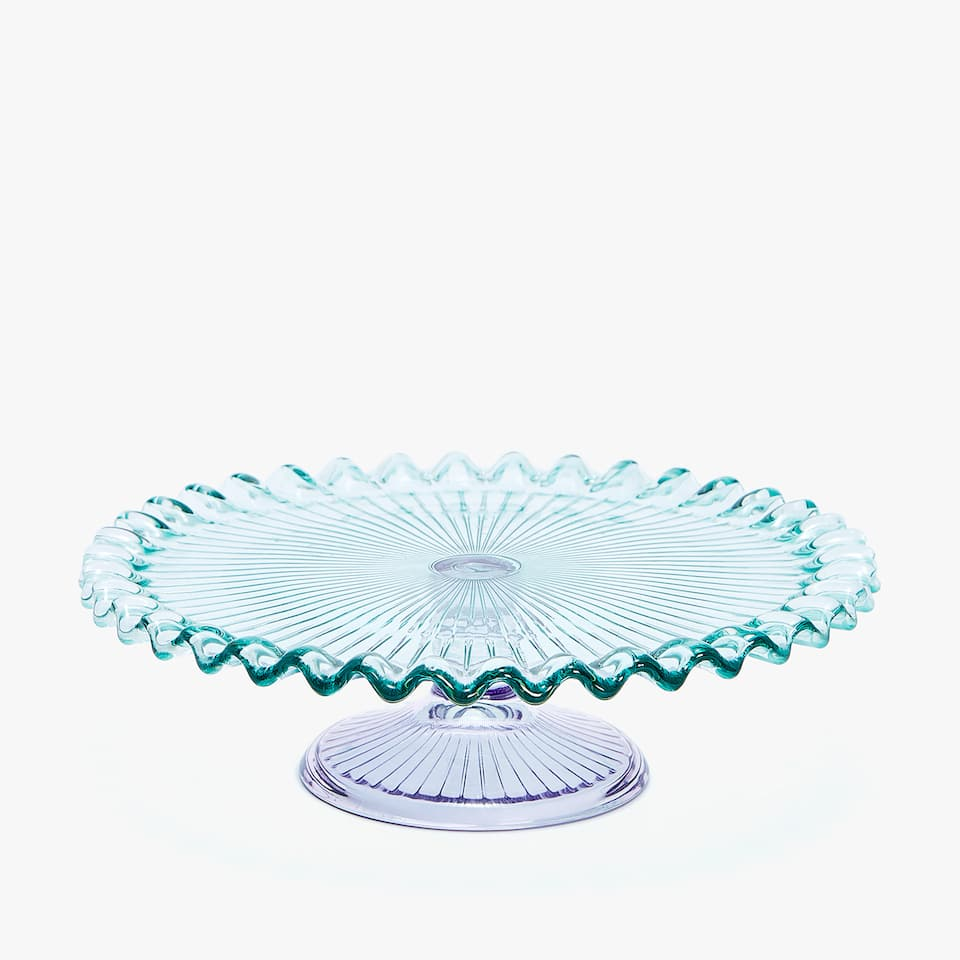 SCALLOPED GLASS TIERED SERVING DISH