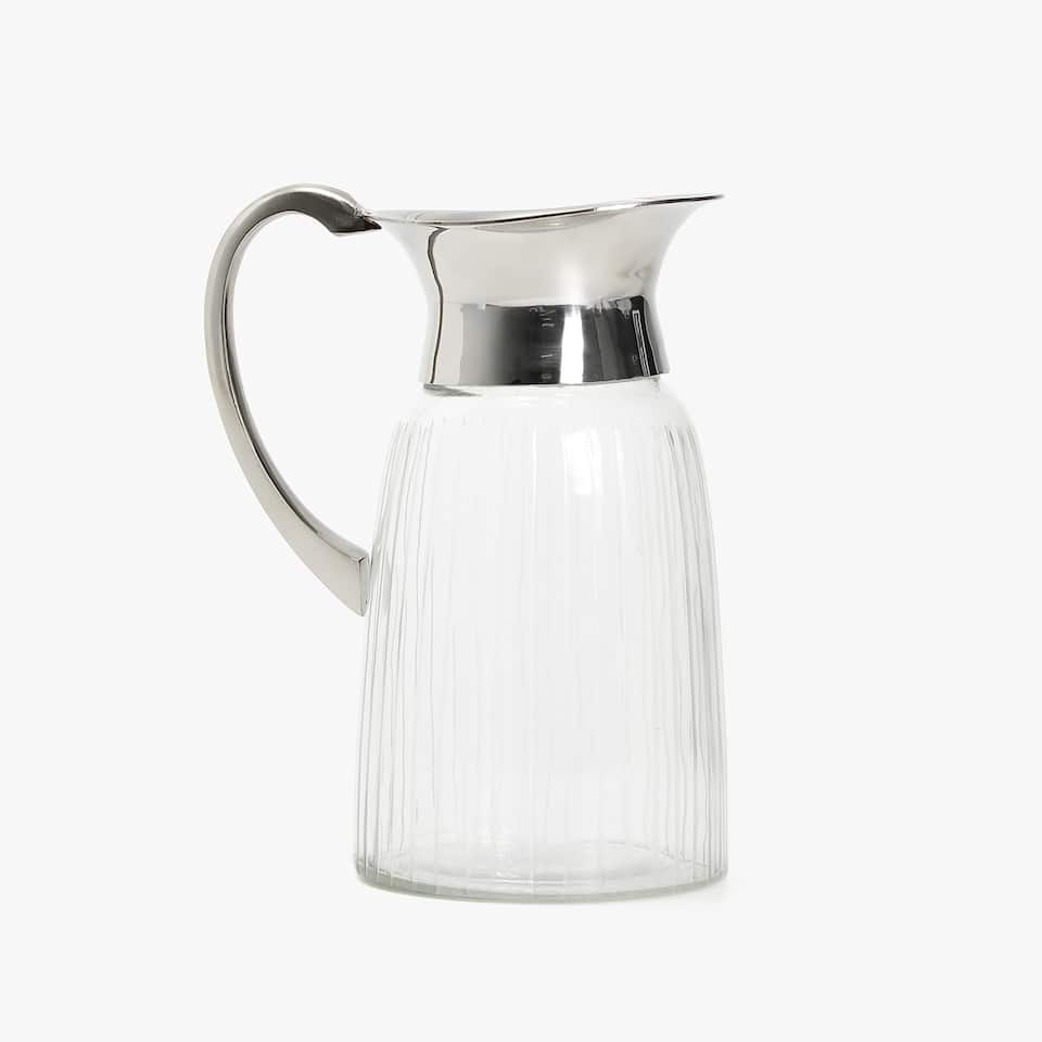 CLASSIC GLASS AND STEEL JUG