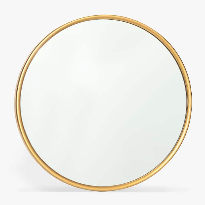 Afbeelding van het product ronde spiegel met goudgele rand for Ronde plakspiegel