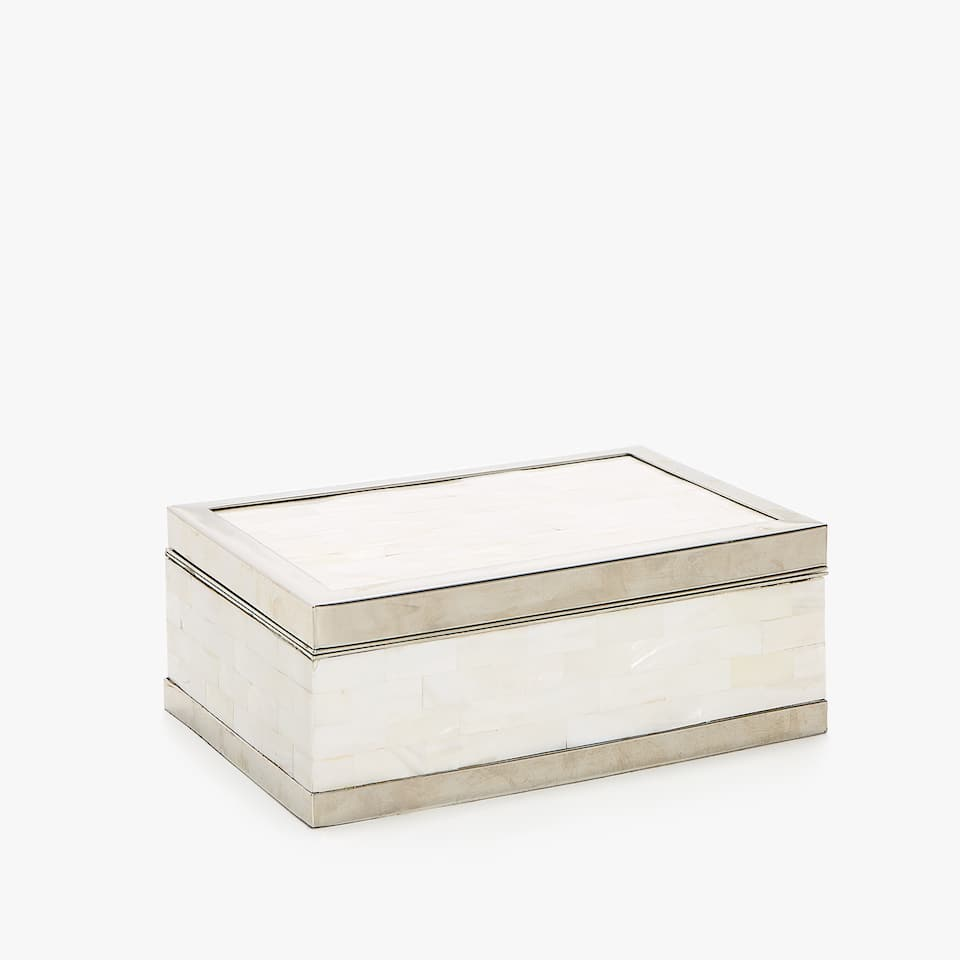 MOTHER-OF-PEARL BOX AND METAL BOX