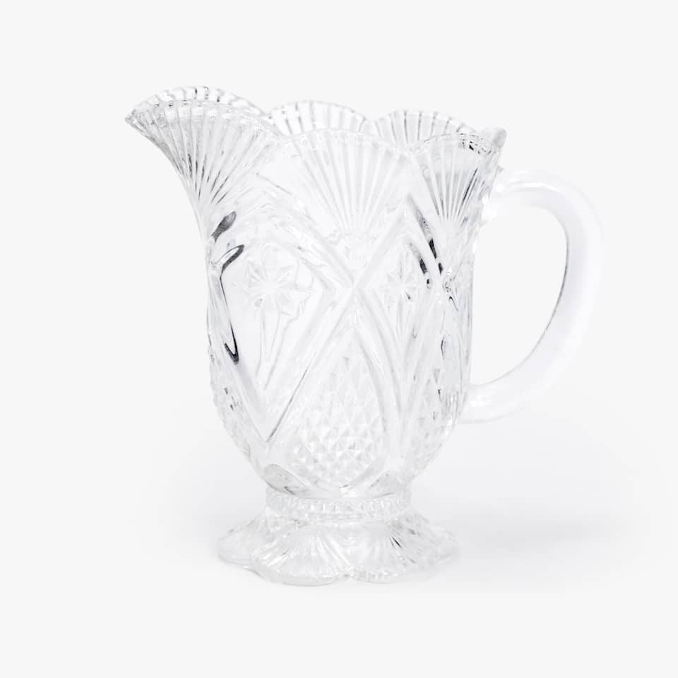 ENGRAVED GLASS MILK JUG