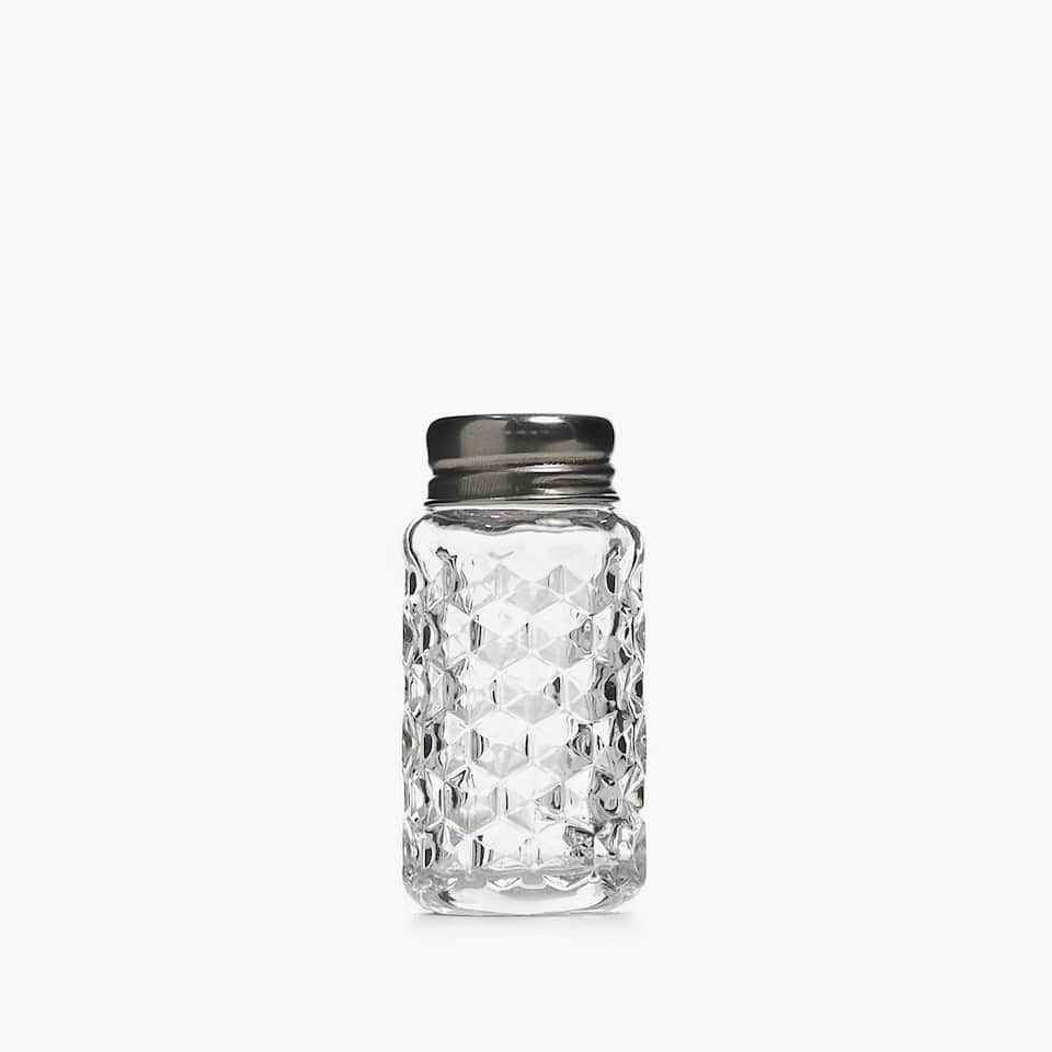 CHUNKY TEXTURED GLASS SALT SHAKER