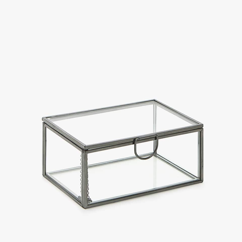GLASS BOX WITH ANTIQUE-FINISH METAL FRAME
