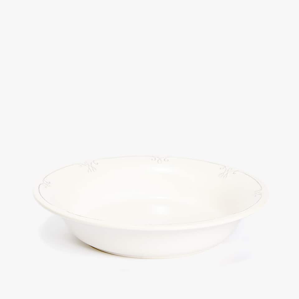 EARTHENWARE SOUP PLATE WITH RAISED-DESIGN RIM