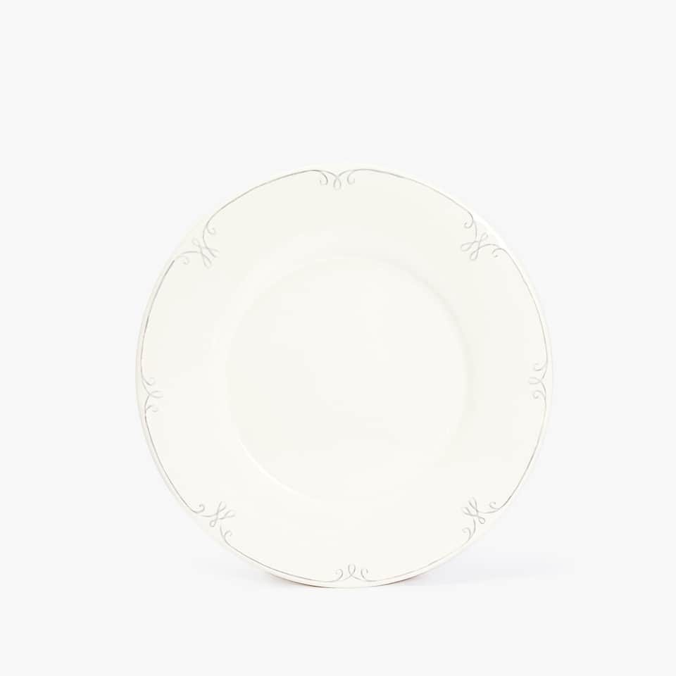 EARTHENWARE DESSERT PLATE WITH RAISED-DESIGN RIM