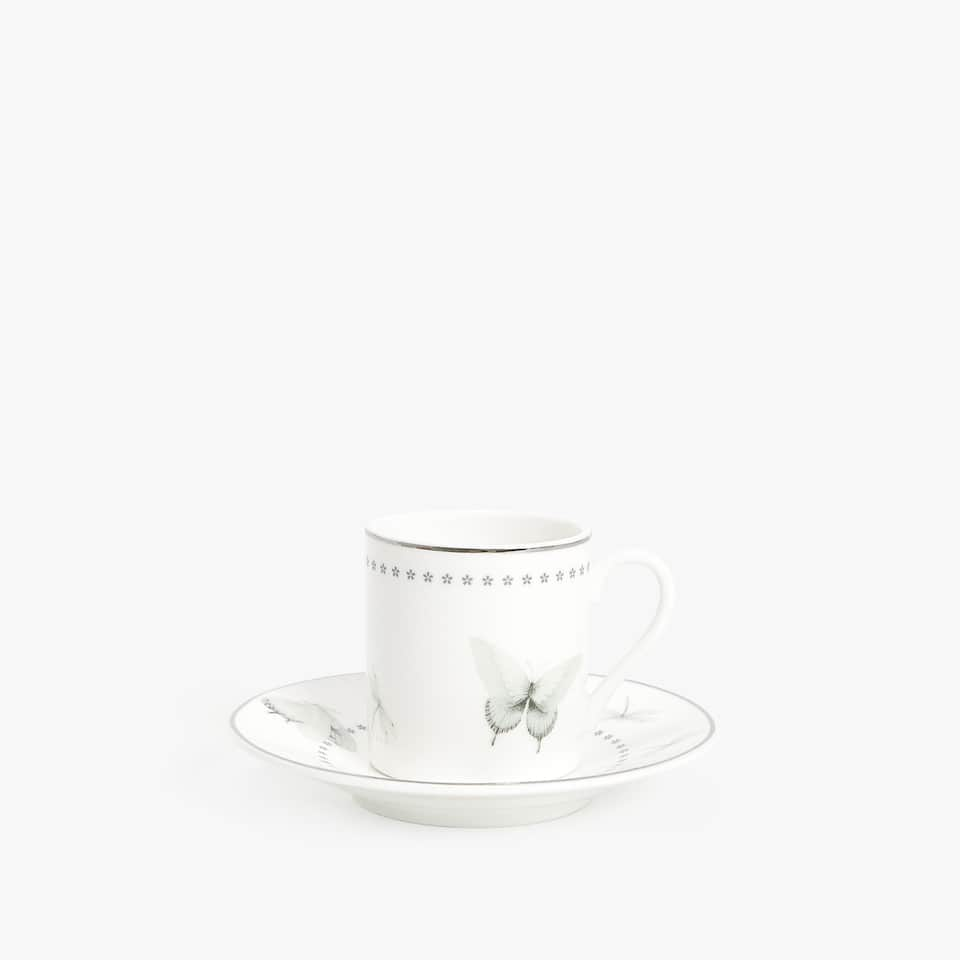 PORCELAIN COFFEE CUP AND SAUCER WITH BIRD PRINT