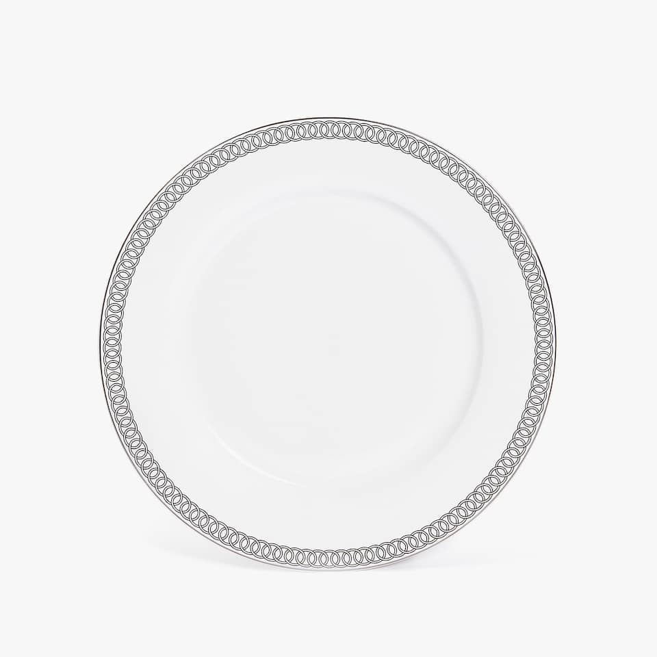 PORCELAIN DINNER PLATE WITH SILVER RIM