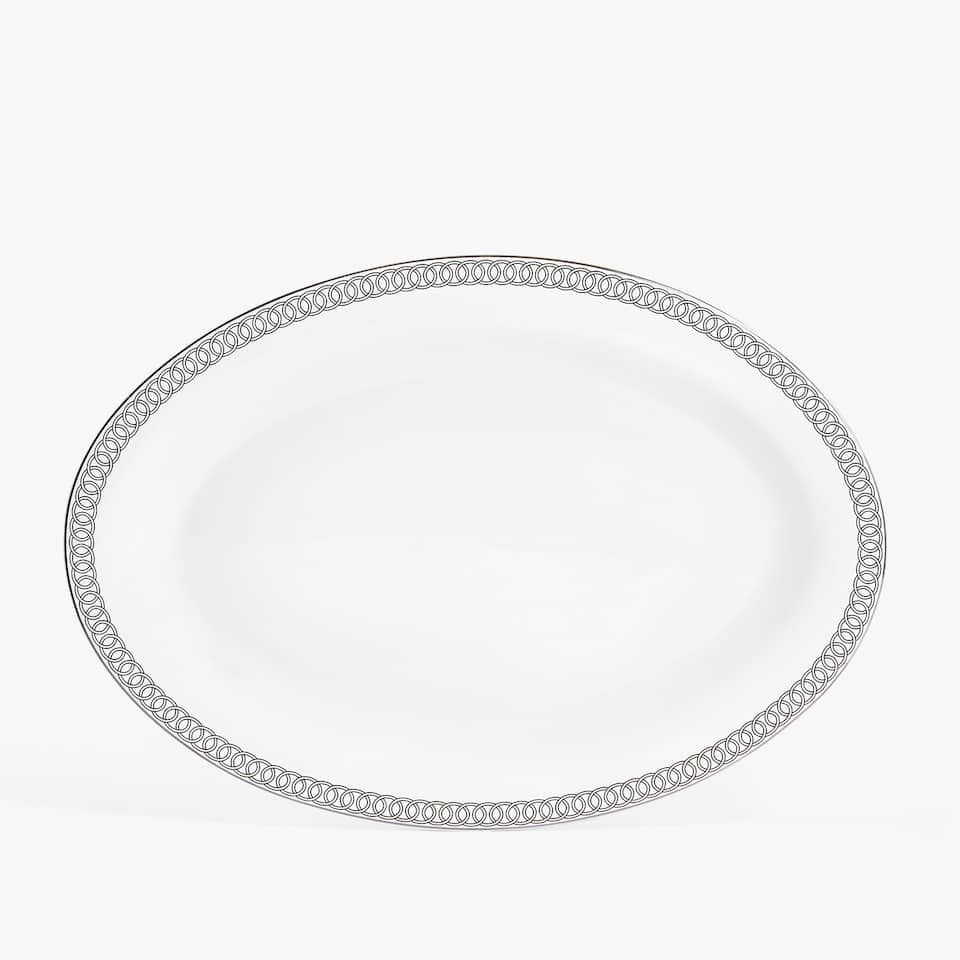 PORCELAIN SERVING DISH WITH SILVER RIM