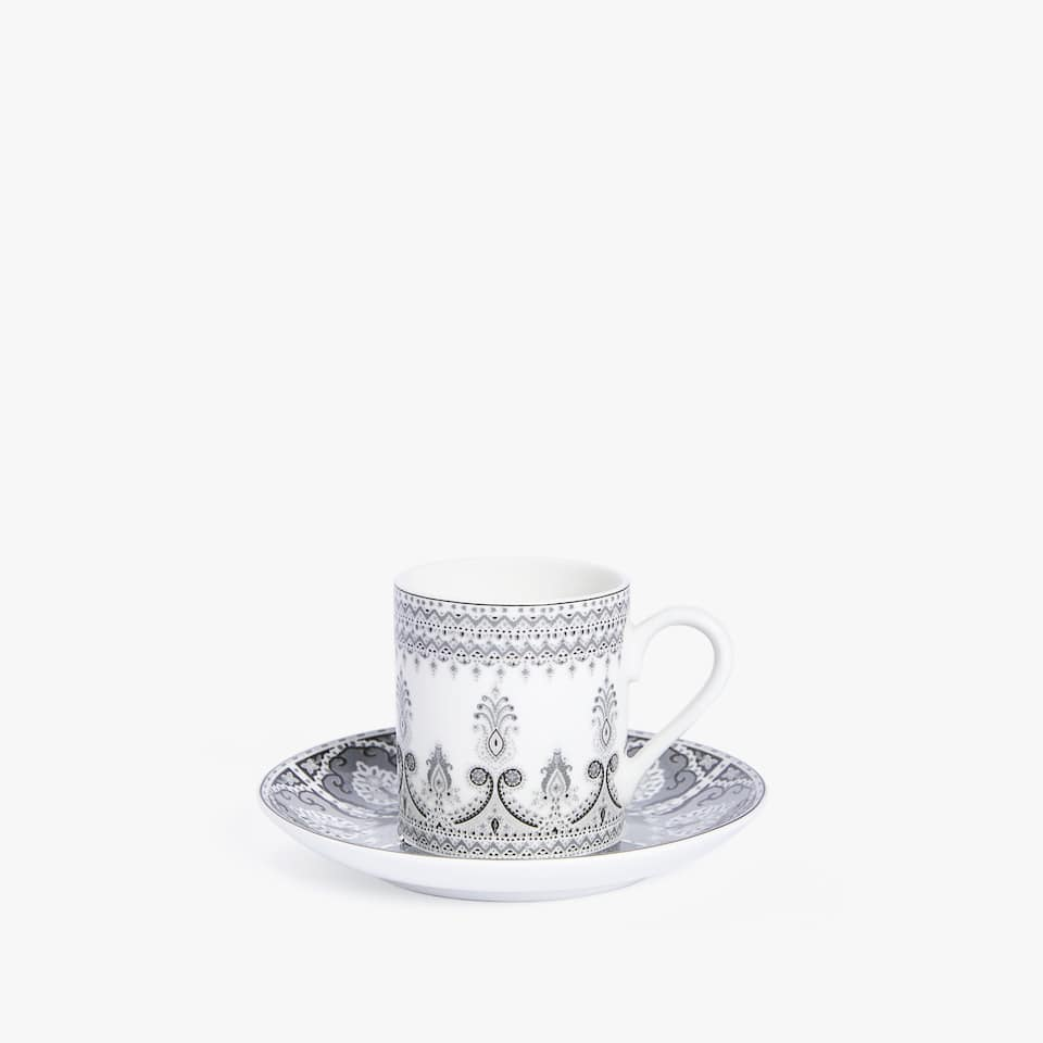 PAISLEY PORCELAIN COFFEE CUP AND SAUCER