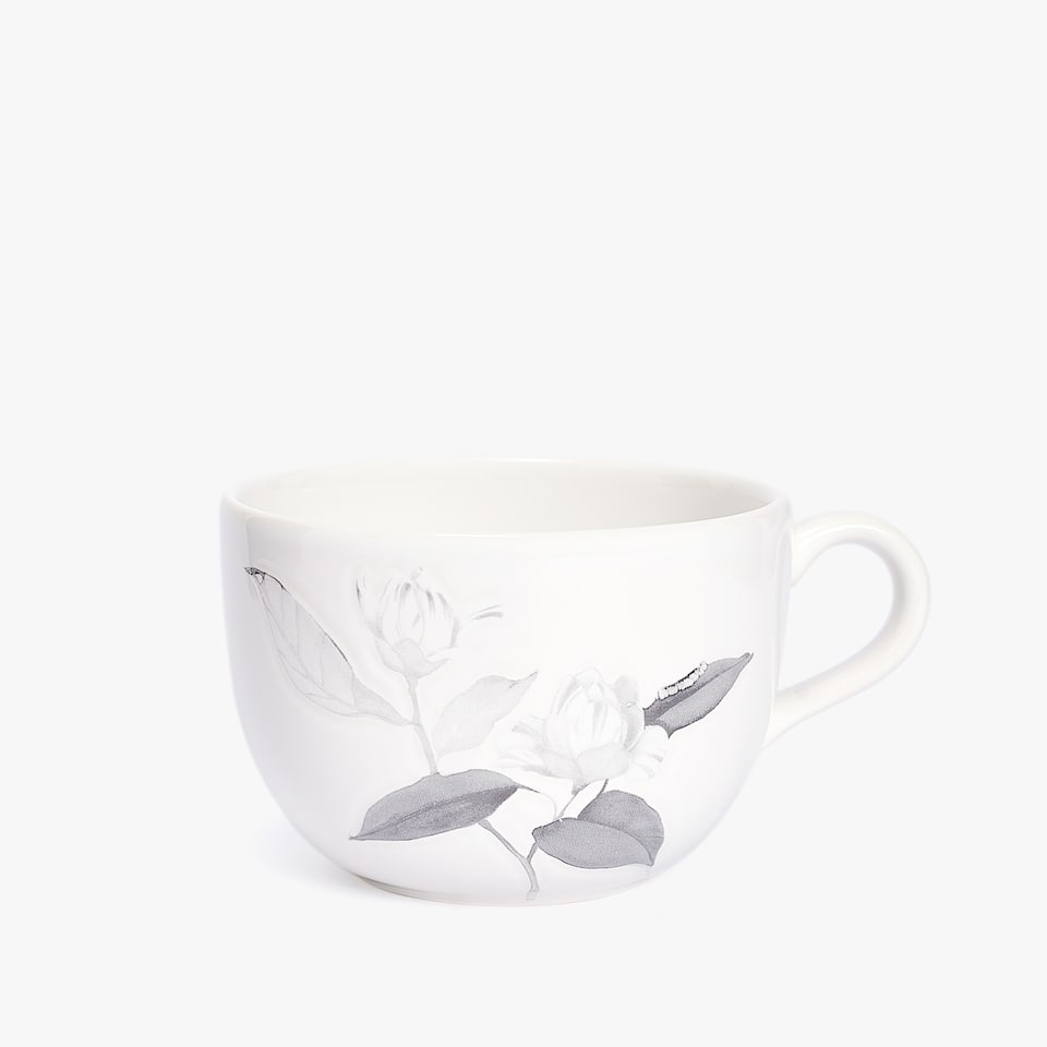 LARGE EARTHENWARE MUG WITH LEAF PRINT