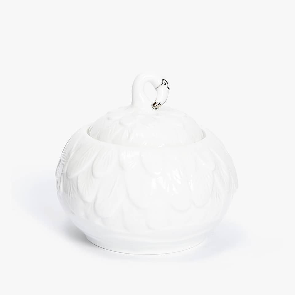PORCELAIN SUGAR BOWL WITH SILVER DETAIL