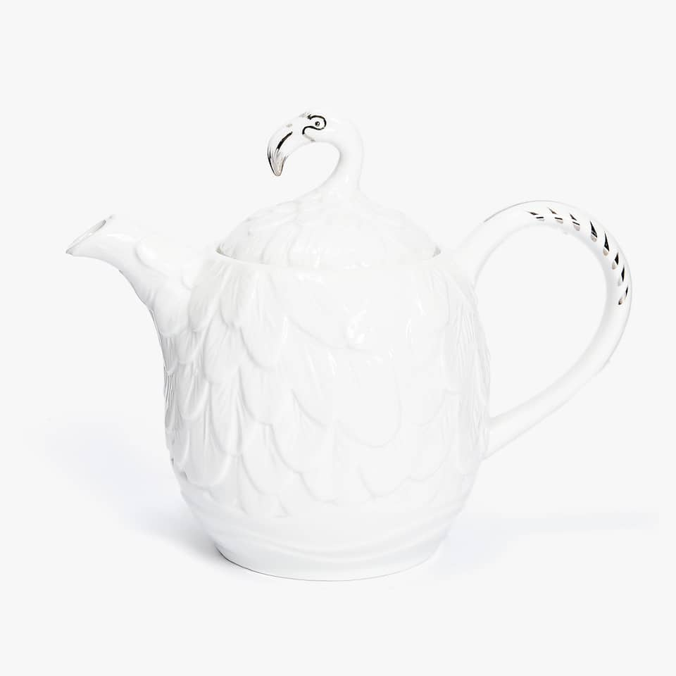 PORCELAIN TEAPOT WITH SILVER DETAIL