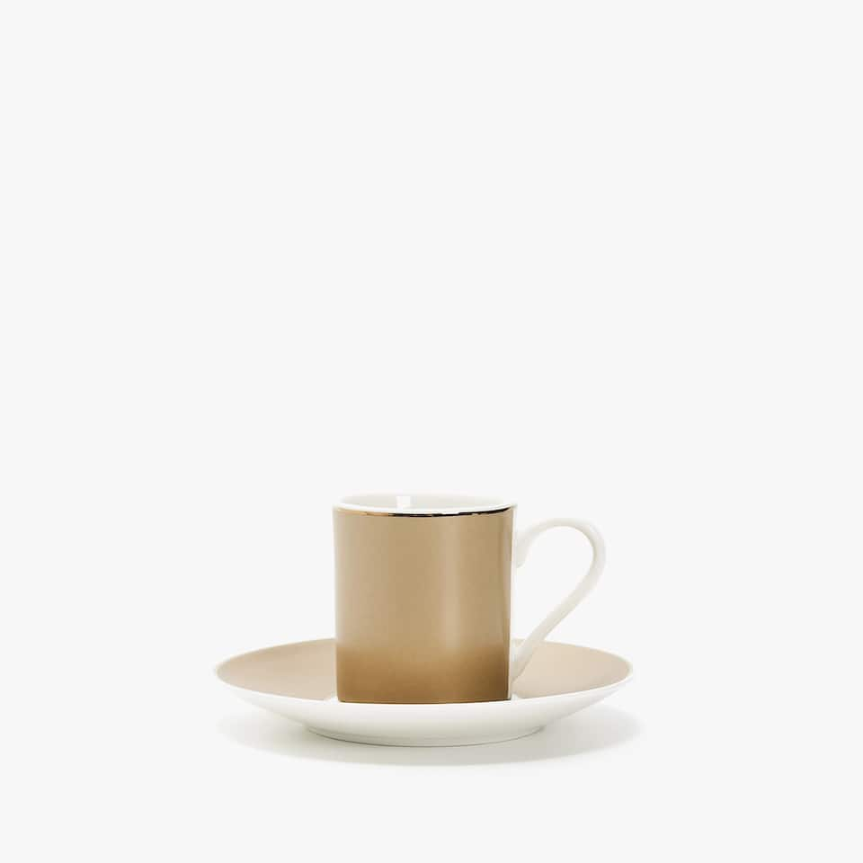 PORCELAIN COFFEE CUP AND SAUCER WITH CONTRASTING STRIPE