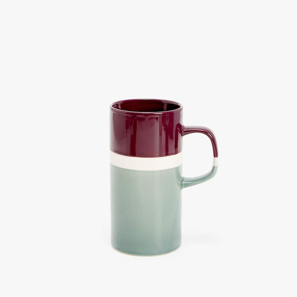 STONEWARE MUG WITH NATURAL-COLOURED STRIPE