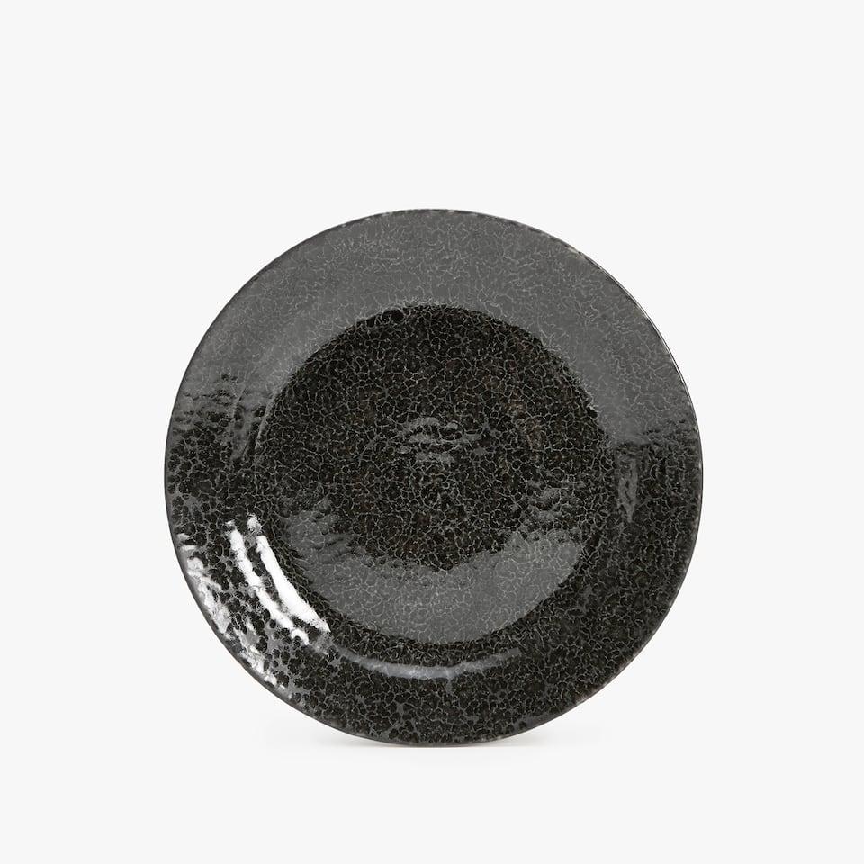 BLACK STONEWARE DESSERT PLATE