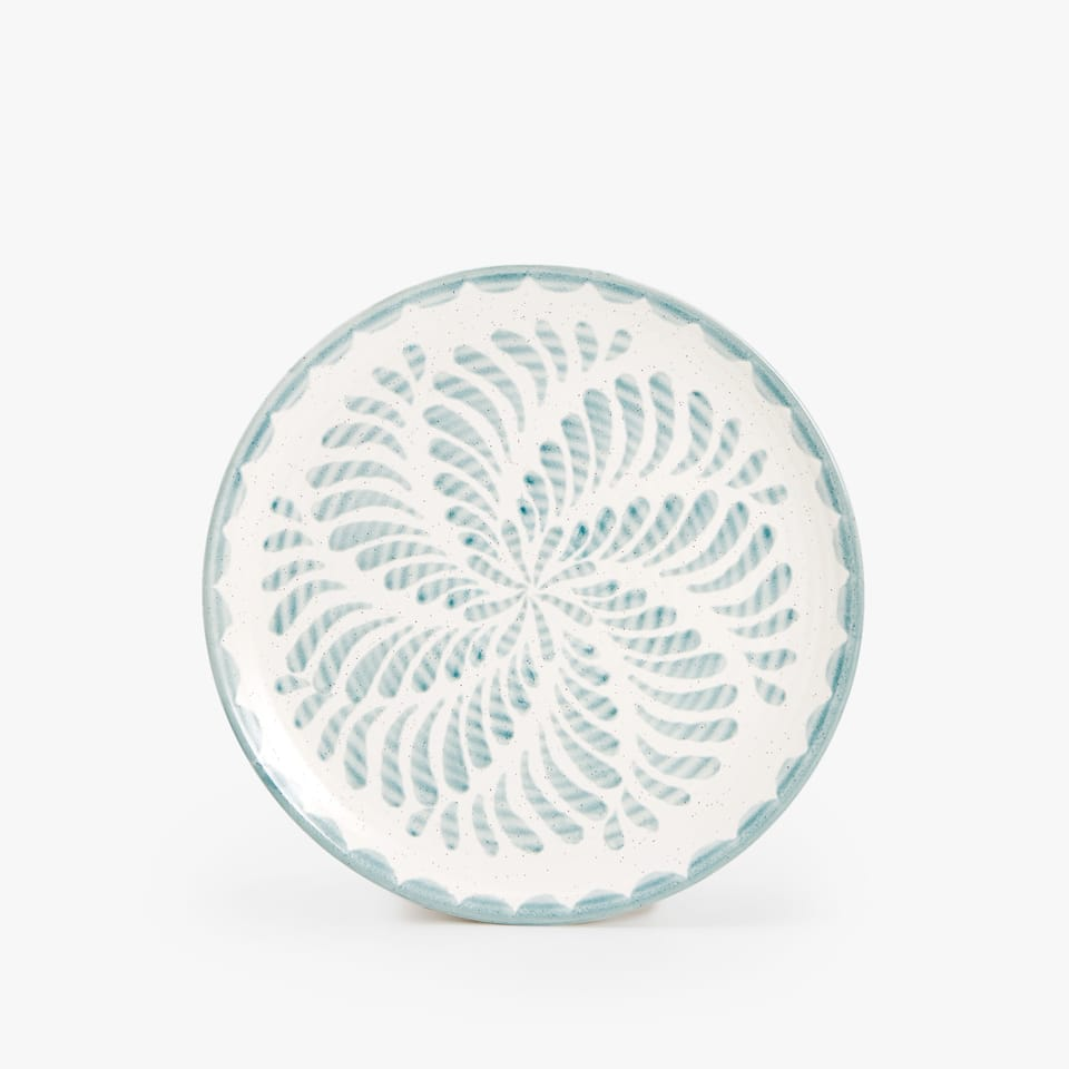 EARTHENWARE DESSERT PLATE WITH PRINT