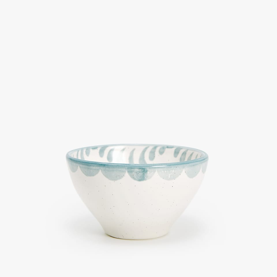 EARTHENWARE BOWL WITH PRINT