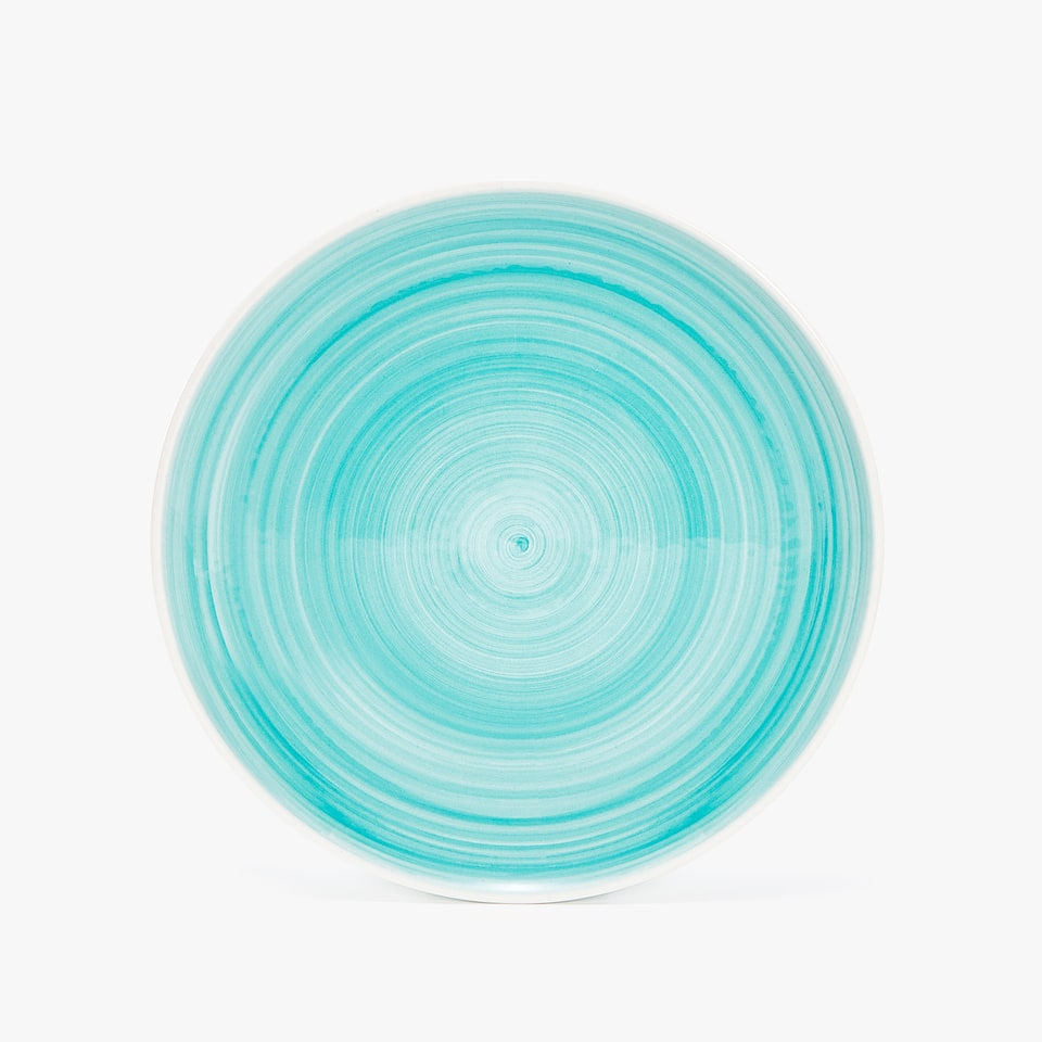 EARTHENWARE DINNER PLATE WITH SPIRAL DESIGN
