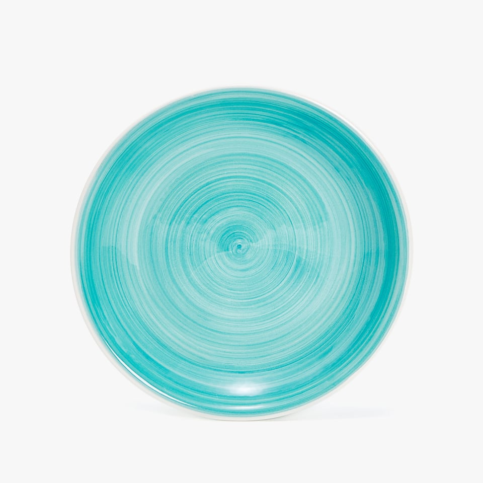 EARTHENWARE SOUP PLATE WITH A SPIRAL DESIGN