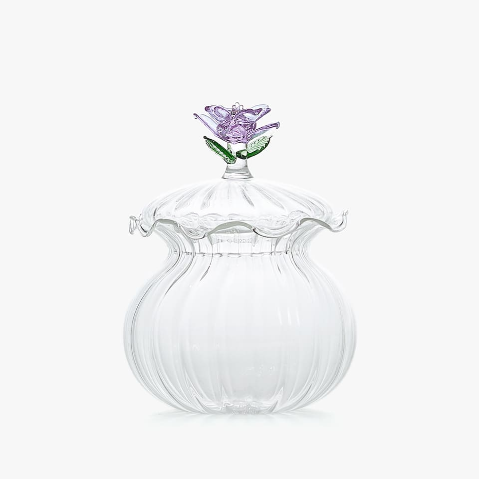 SCALLOPED GLASS SUGAR BOWL