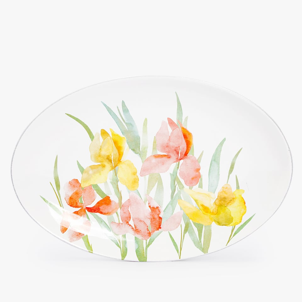 FLORAL EARTHENWARE SERVING DISH