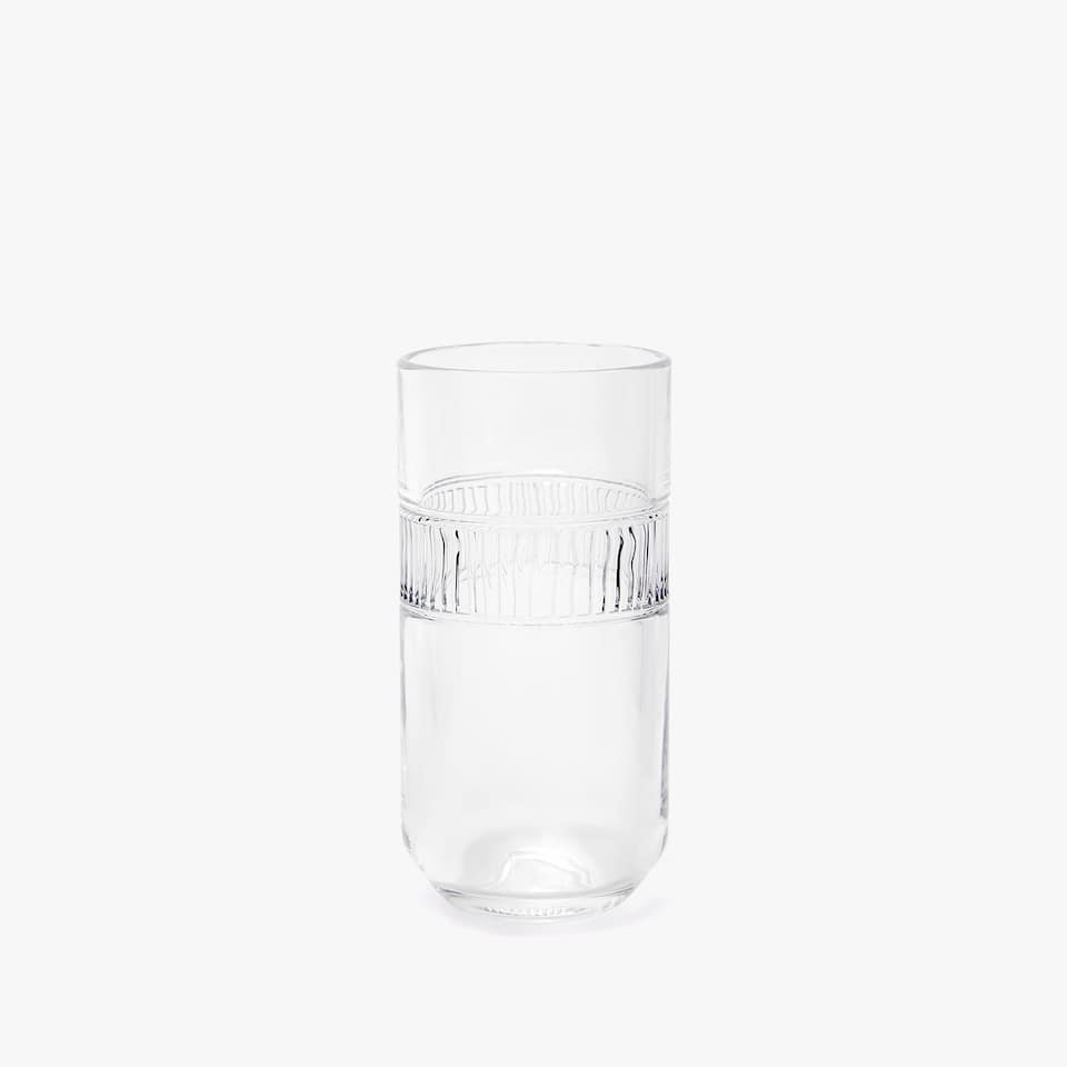 STRIPED BAND GLASS SOFT DRINK TUMBLER