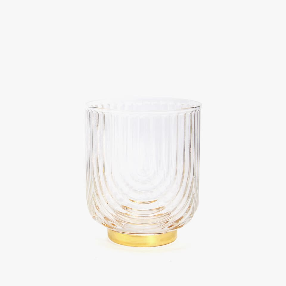 GLASS TUMBLER WITH GOLDEN BASE