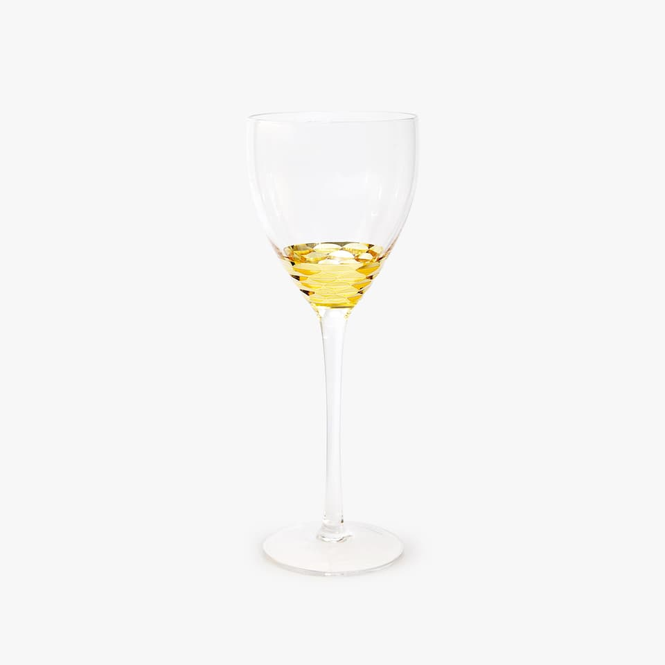 WINE GLASS WITH GOLD BASE