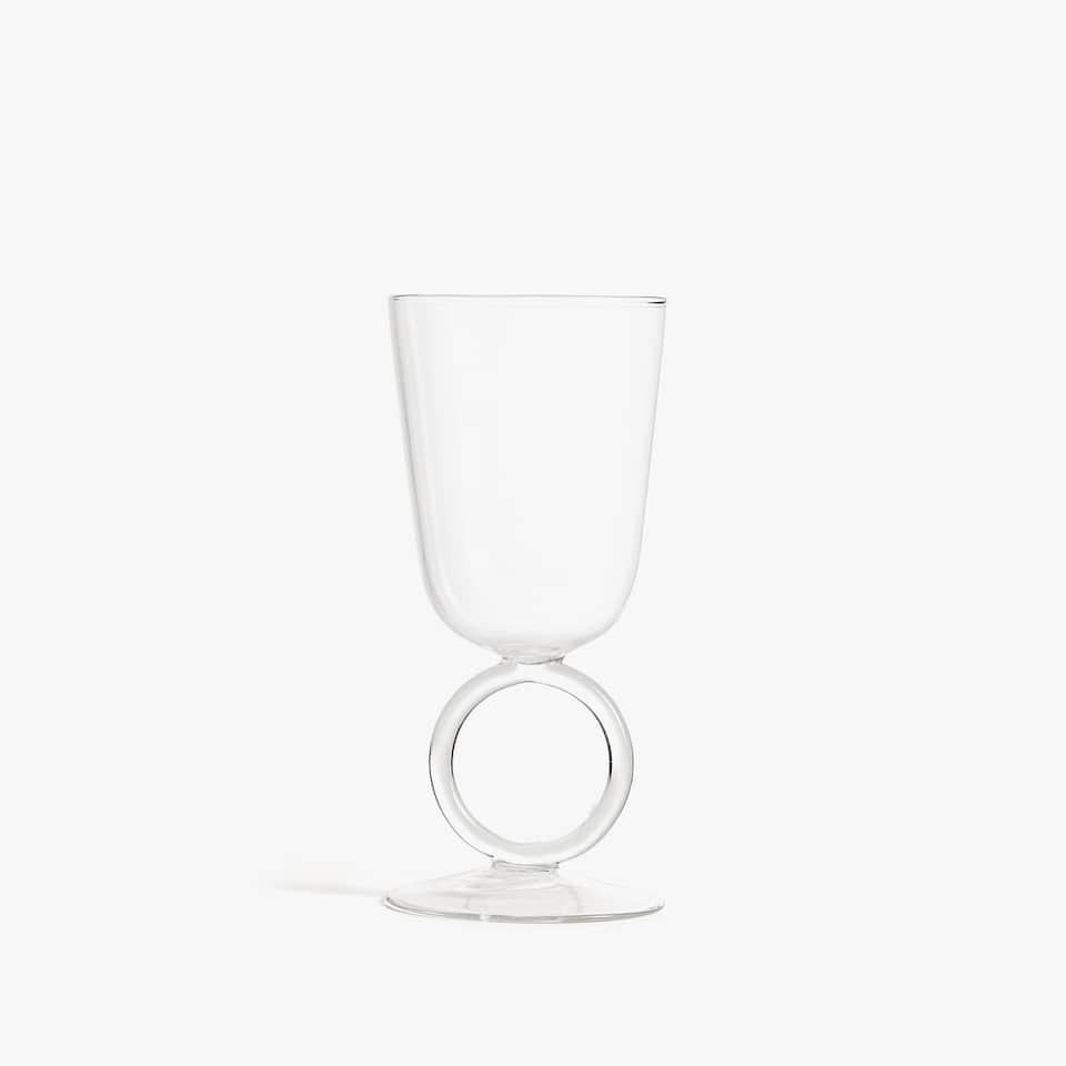 BOROSILICATE WINE GLASS WITH CIRCULAR STEM