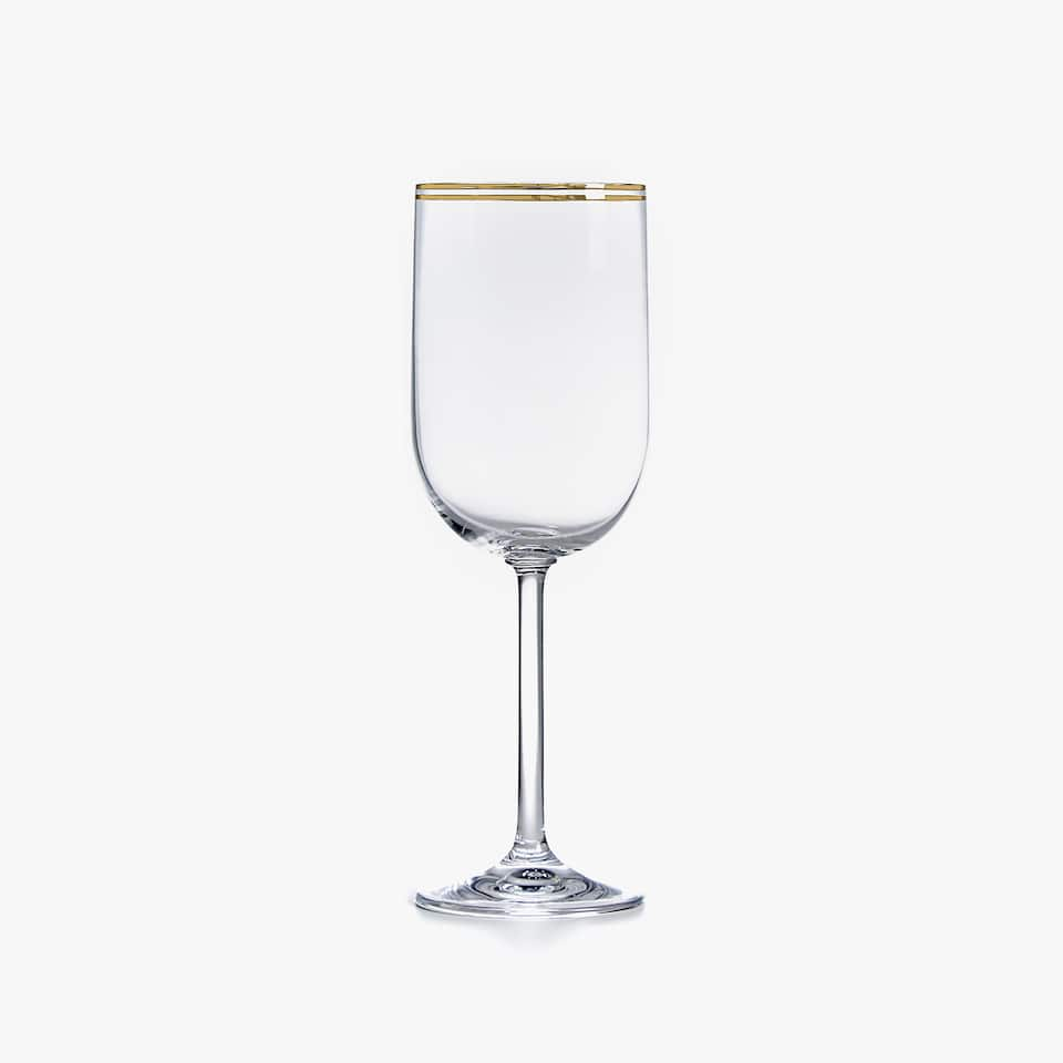 WINE GLASS WITH DOUBLE GOLD RIM