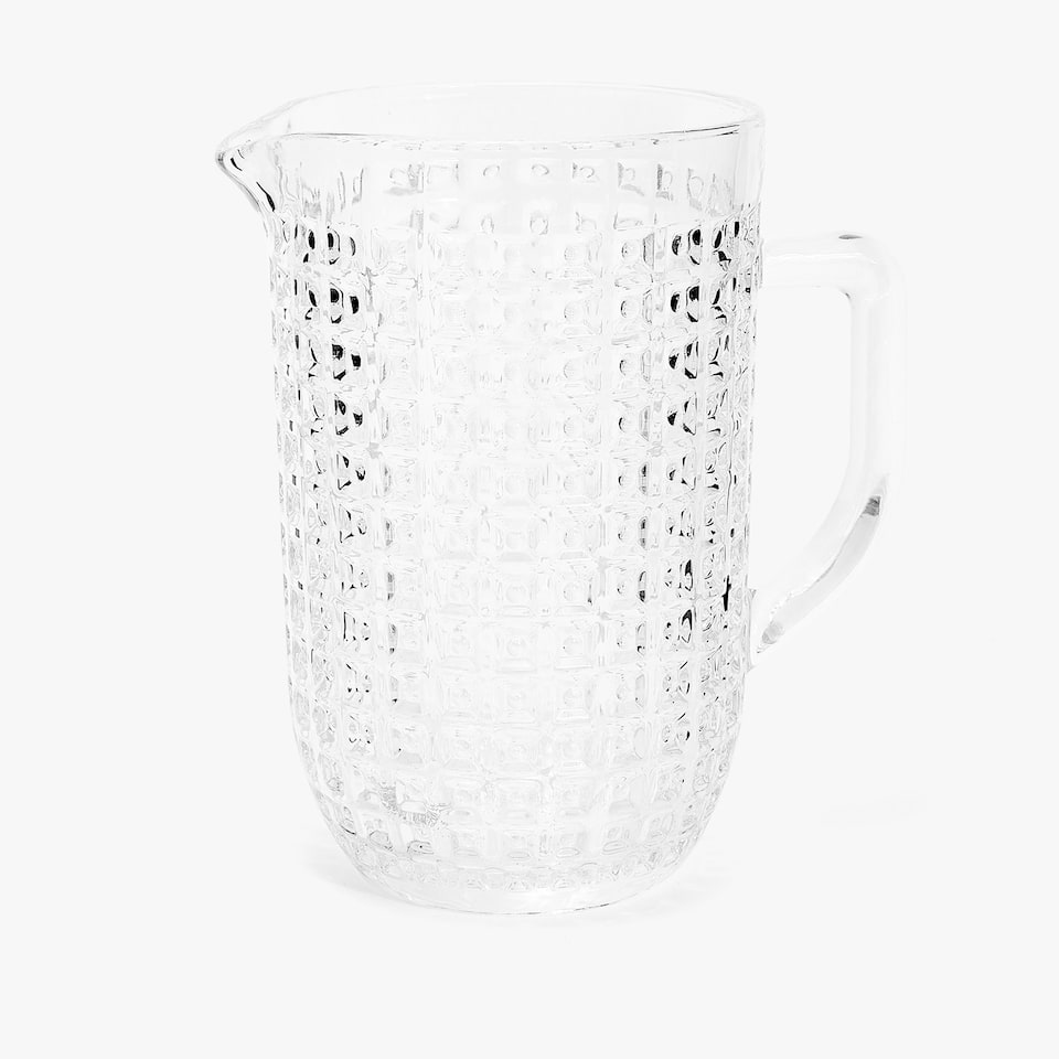 GLASS PITCHER WITH RAISED SQUARES DESIGN