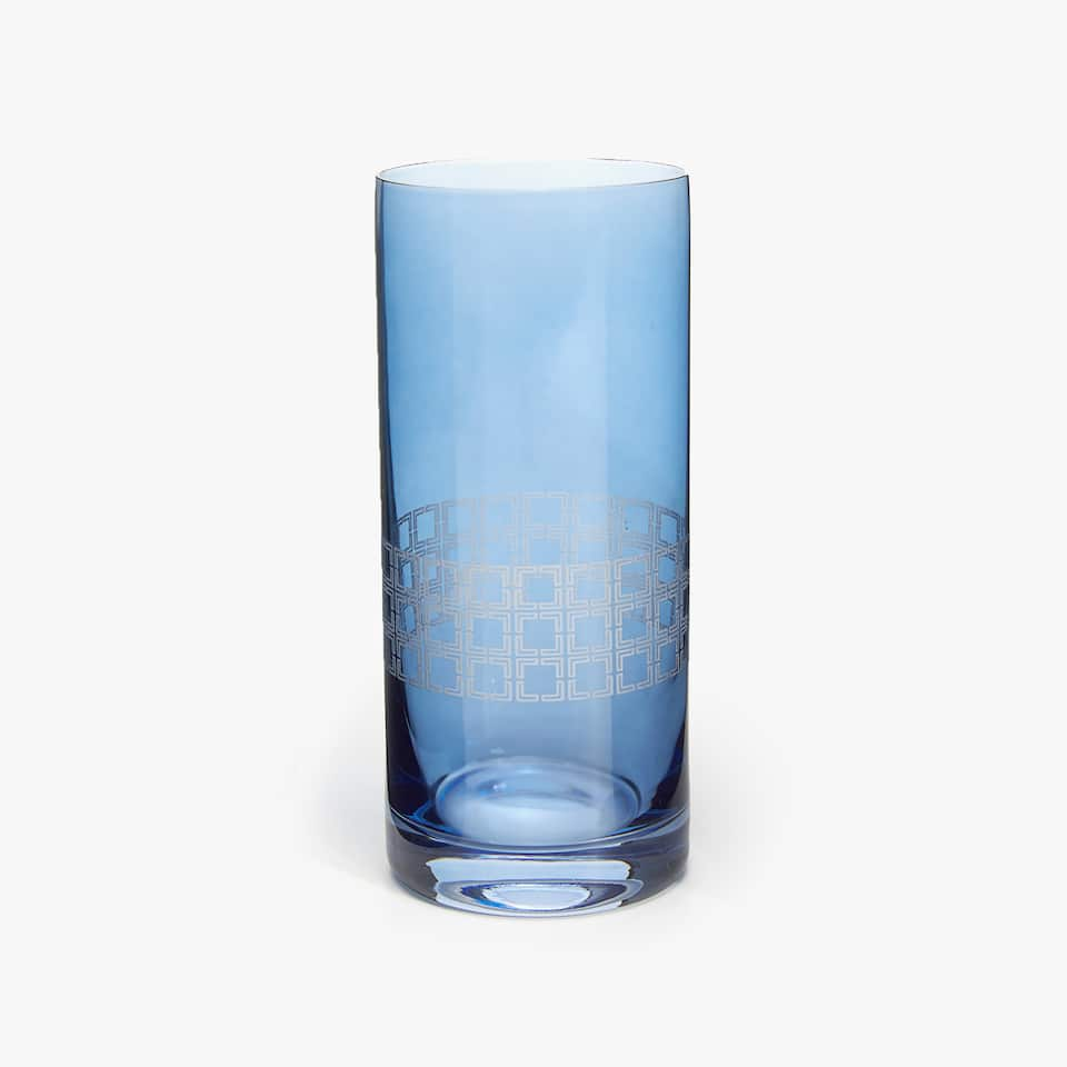 SOFT DRINK TUMBLER WITH SQUARES BAND