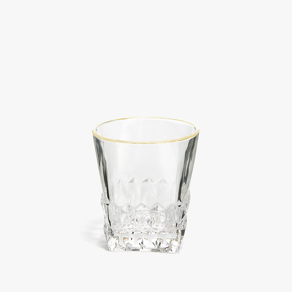 GLASS TUMBLER WITH SQUARE BASE